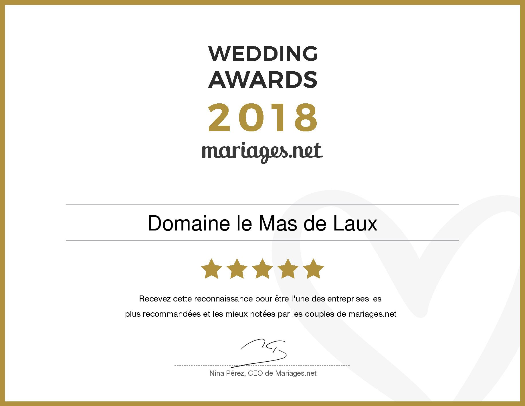 Le Mas de Laux, gagnant Wedding Awards 2018 mariages.net
